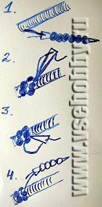 схема изготовления жгута из бисера на шнуре