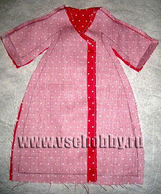 сшиваем рукава халатика куклы Тильды по верху до плечей
