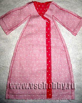 сшиваем рукава и бока халатика куклы Тильды