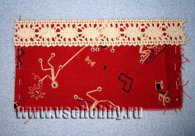 украшаем верх кармашков органайзера для шитья тесьмой своими руками