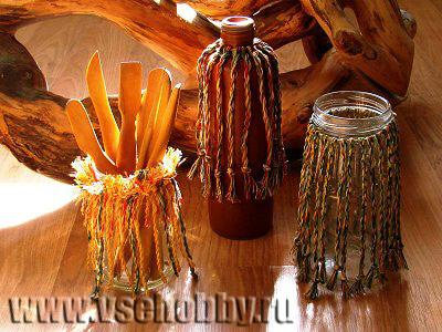 декоративная ваза ручной работы из ниток и банки мастер-класс