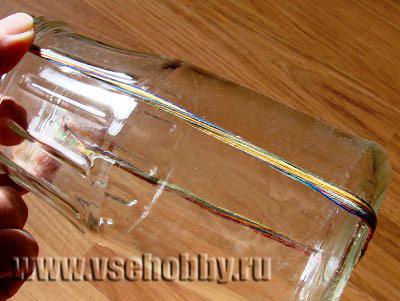 определяем длину пучка ниток для изготовления крученок на декоративную вазу из банки