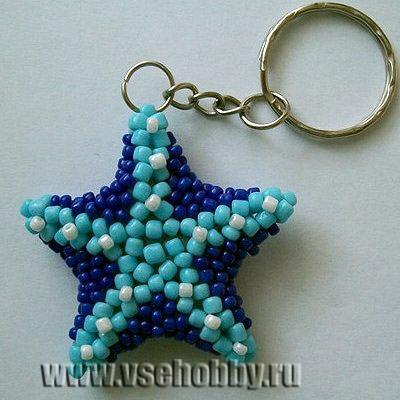 подвеска брелок морская звезда ручной работы из бисера готова