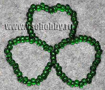 вышиваем контуры клевера зелёным бисером своими руками