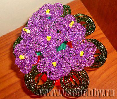 весенний букет фиалки из бисера своими руками себе или в подарок