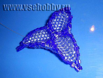 собранный цветок трёхлистник ручной работы из бисера