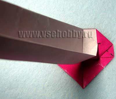 Бумажную ленту опять ставим перпендикулярно сердечку