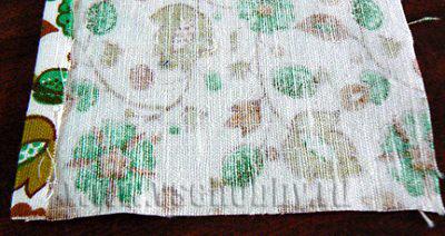 заутюживаем припуск 1 см полосы ткани для обклеивания комода