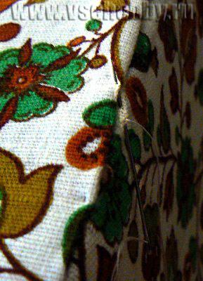 стыки ткани прошиваем потайным швом своими руками