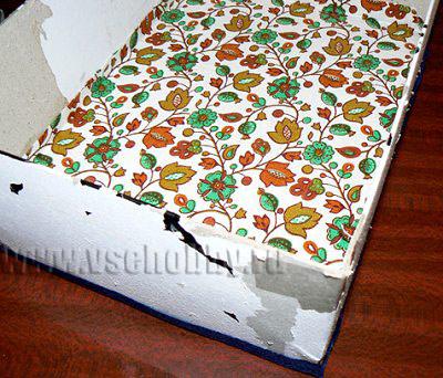 обклеиваем дно коробки будущего комода ручной работы