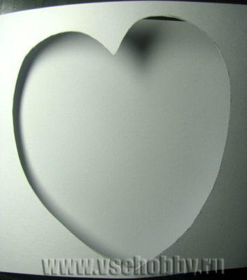 окошко сердечко для вышивки крестом на открытке ручной работы готово