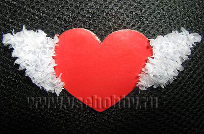 крылья сердечка валентинки в технике торцевания из бумаги своими руками