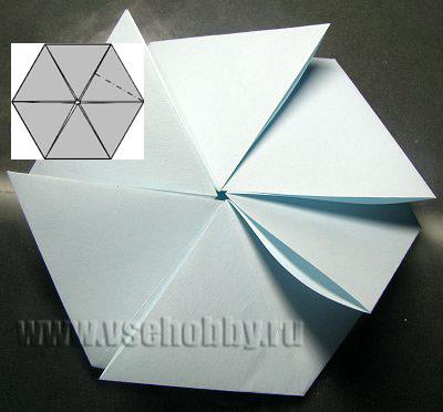 промежуточная вертушка в процессе изготовления своими руками снежинки оригами