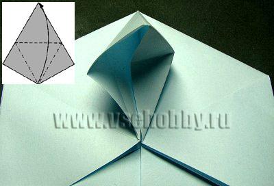 только что сделанные сгибы прогибаем в противоположную сторону делаем оригами снежинку