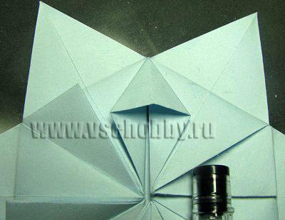 готовый сложенный плоско ромбик при изготовлении своими руками снежинки оригами