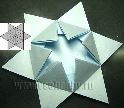 звезда промежуточный этап работы над снежинкой ручной работы в технике оригами