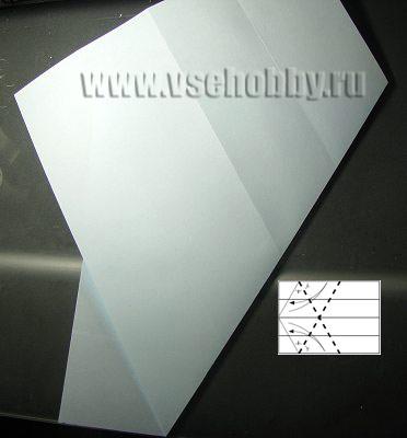 Нижний срез листа загибаем наверх налево делаем из А4 равносторонний шестиугольник