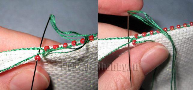 сшиваем своими руками пендибуль вшивая для красоты бисер