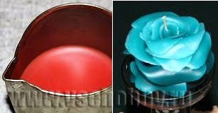 консервная банка с загнутым уголком носиком для выливания свечи в форме розы ручной работы