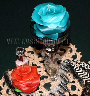 свечи ручной работы розы выполнены без использования форм