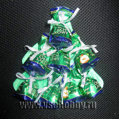 открытка в форме ёлочки из конфет своими руками мастер-класс