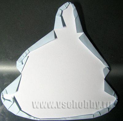 оборачиваем вторую деталь открытки ёлочки цветной бумагой