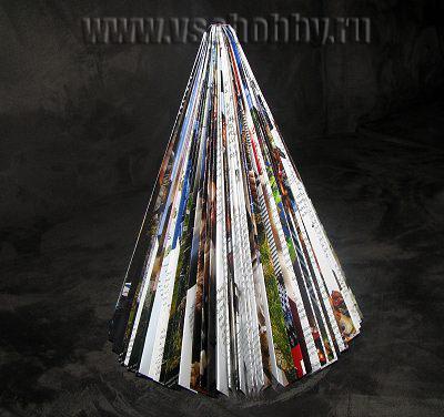 фотография ёлочки пирамидки ручной работы из ненужного журнала