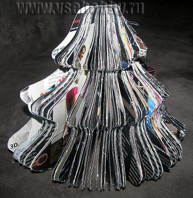 фотография ёлочки ручной работы из ненужного журнала