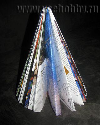 соединенные обложки журнала создают неравномерность в ёлочке ручной работы