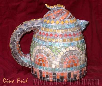 Чайник украшенный мозаикой своими руками