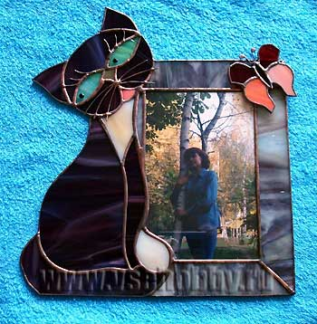 рамка для фото витраж с кошкой своими руками