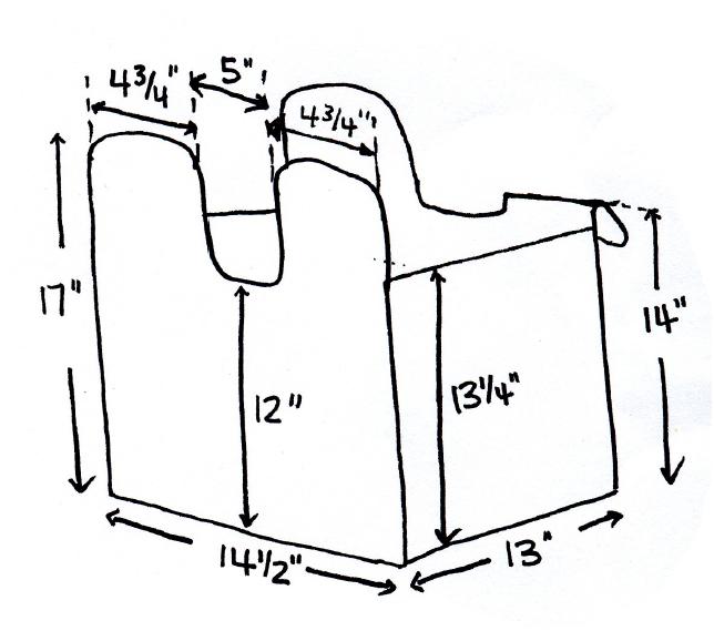 Размеры сумки также указаны в дюймах