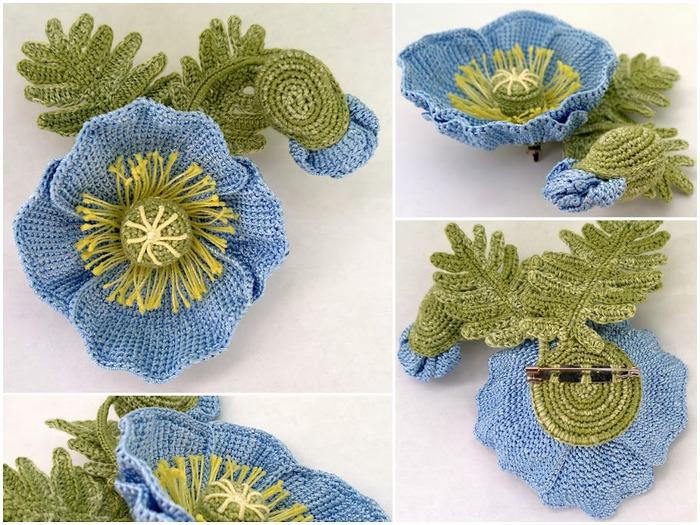 Вязанный крючком цветок: голубой мак