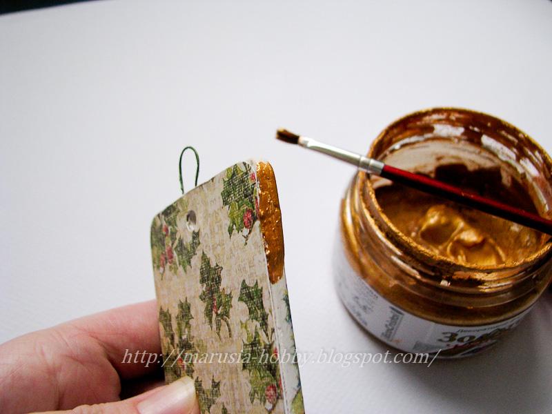 Подкрашиваем торец золотой краской