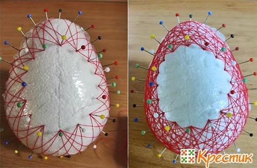 Воздушное яйцо из ниток