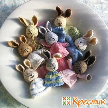 вязаные пасхальные кролики