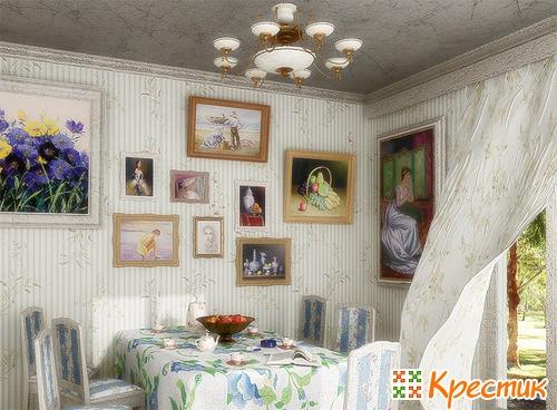 Интерьер комнаты с вышивкой