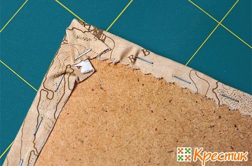Закрепление вышивки степлером