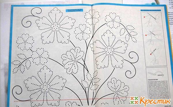 Схема вышивки французских узелков