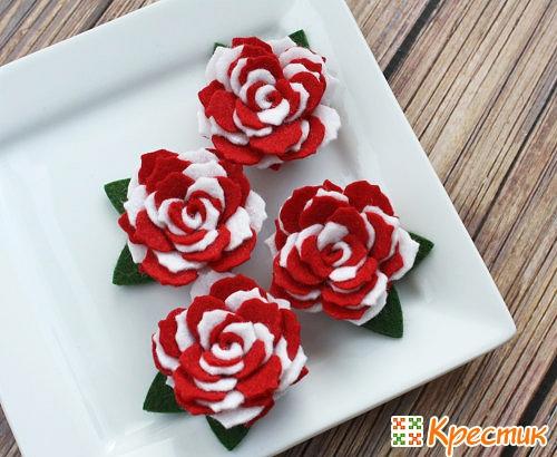 Розы из фетра фото 5