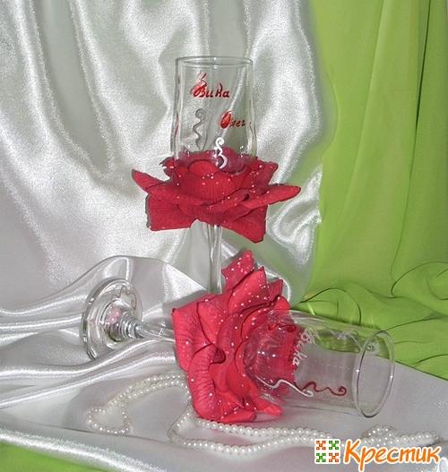 МК свадебные бокалы своими руками