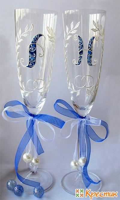 Роспись на свадебных бокалах