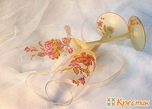 Роспись свадебных бокалов своими руками