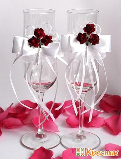 Сделать своими руками свадебные бокалы