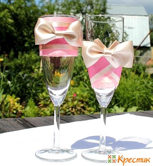 Украсить свадебные бокалы своими руками