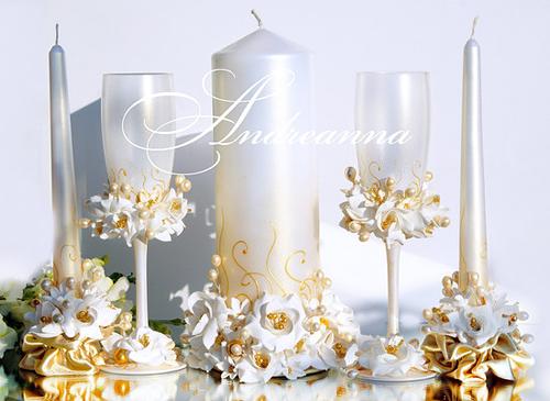 Свадебные свечи «Золотая фрезия и гардения»