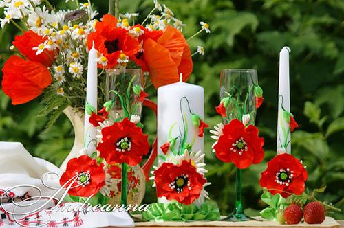 Свадебные свечи Алый мак
