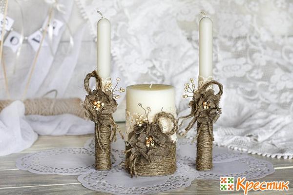 Оформление свадебных свечей своими руками
