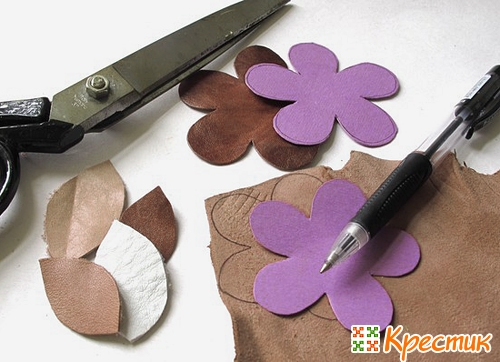 Как сделать цветок из кожи