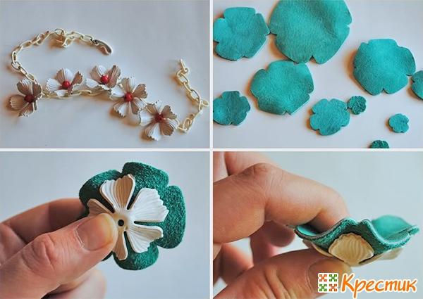 Ожерелье с цветами из кожи